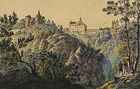 Zamek w Starym Książu - Zamek Stary Książ i Książ na grafice z drugiej połowy XIX wieku
