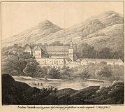 Dwór w Suchej Beskidzkiej - Zamek w Suchej na litografii Johanna Friedricha Franza Brudera z 1829 roku