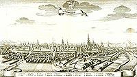 Zamek w Świdnicy - Panorama Świdnicy na sztychu Matthäusa Meriana z dzieła 'Topographia Bohemiae, Moraviae et Silesiae' z 1650 roku