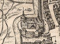 Zamek w Świebodzinie - Zamek w Świebodzinie na przełomie XVI i XVII wieku, fragment miedziorytu z dzieła Georga Brauna i Franza Hogenberga 'Civitates orbis terrarum'