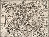 Zamek w Świebodzinie - Panorama miasta na przełomie XVI i XVII wieku, miedzioryt z dzieła Georga Brauna i Franza Hogenberga 'Civitates orbis terrarum'