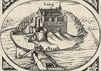Zamek w Szadzku - Rysunek z mapy E.Lubinusa z 1618 roku, 'Die Bau- und Kunstdenkm�ler des Regierungsbezirks Stettin. Heft 8. Der Kreis Satzig', 1908