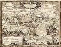 Zamek w Szczecinie - Miasto i zamek na sztychu Erika Dahlbergha z dzieła Samuela Pufendorfa 'De rebus a Carolo Gustavo gestis', 1656 rok