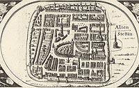 Zamek w Szczecinie - Widok miasta z zamkiem z rysunku na mapie Eilharda Lubinusa z 1618 roku