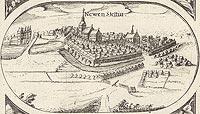 Zamek w Szczecinku - Panorama miasta z widokiem zamku. Rysunek na mapie Eilharda Lubinusa z 1618 roku