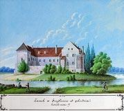 Zamek w Szydłowcu - Obraz K.Stronczyńskiego z 1850-1855 roku. Zamek od strony południowej