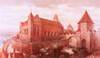 Zamek w Toruniu - Zamek toruński przed zniszczeniem w 1454 roku, rekonstrukcja malarska Waltera Zieglera z początku XX wieku, ze zbiorów Muzeum Okręgowego w Toruniu  [<a href=/bibl_ksiazka.php?idksiazki=211&wielkosc_okna=d onclick='ksiazka(211);return false;'>źródło</a>]