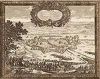 Zamek w Toruniu - Miasto i pozostałości zamku na sztychu Erika Dahlbergha z dzieła Samuela Pufendorfa 'De rebus a Carolo Gustavo gestis', 1656 rok