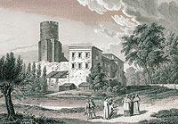 Zamek w Uniejowie - Zamek w Uniejowie na rycinie Edwarda Raczyńskiego, Wspomnienia Wielkopolski to jest województw poznańskiego, kaliskiego i gnieźnieńskiego, 1842