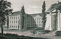 Wieleń Północny - Zamek w Wieleniu na litografii Edwarda Raczyńskiego, Wspomnienia Wielkopolski to jest województw poznańskiego, kaliskiego i gnieźnieńskiego, 1843