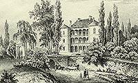Dwór w Woli Justowskiej - Willa Decjusza na litografii Napoleona Głowackiego