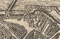 Zamek cesarski we Wrocławiu - Zamek we Wrocławiu na przełomie XVI i XVII wieku, fragment miedziorytu z dzieła Georga Brauna i Franza Hogenberga 'Civitates orbis terrarum'