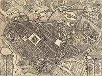 Zamek cesarski we Wrocławiu - Plan miasta na przełomie XVI i XVII wieku, miedzioryt z dzieła Georga Brauna i Franza Hogenberga 'Civitates orbis terrarum'