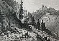 Zamek Grodno w Zagórzu Śląskim - Zamek Grodno na litografii Hubera według rysunku Theodora Blatterbauera