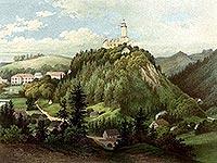 Zamek Grodno w Zag�rzu �l�skim - Litografia H.Litzmanna z po�owy XIX wieku z teki Alberta Dunckera