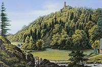 Zamek Grodno w Zagórzu Śląskim - Widok śląskiej Doliny z zamkiem Grodno w Zagórzu śląskim na litografii W.Loeillota według rysunku Ferdinanda Koski, 'Sudeten Album' 1862
