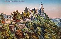 Zamek Grodno w Zagórzu Śląskim - Zamek Grodno na pocztówce z 1920 roku