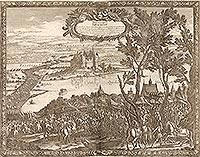 Zamek w Zawichoście - Zamek na sztychu Erika Dahlbergha z dzieła Samuela Pufendorfa 'De rebus a Carolo Gustavo gestis', 1656 rok