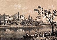 Zamek w Zawieprzycach - Zamek w Zawieprzycach na litografii Juliana Ceglińskiego według rysunku Marcina Olszyńskiego z 1850 roku