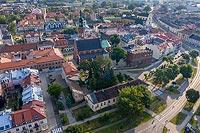 Zamek w Radomiu - Widok zamku na zdjęciu lotniczym, fot. ZeroJeden, VI 2019