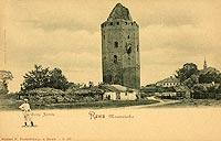 Zamek w Rawie Mazowieckiej - Ruiny zamku w Rawie na pocztówce z około 1915 roku