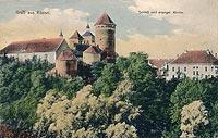 Zamek w Reszlu - Zamek w Reszlu na pocztówce z lat 20. XX wieku