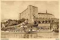 Zamek w Sandomierzu - Zamek na pocztówce z 1932 roku