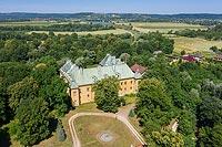 Spytkowice - Widok zamku na zdjęciu lotniczym, fot. ZeroJeden, VI 2019