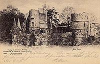 Zamek w Starym Książu - Ruiny Starego Książa na pocztówce z 1924 roku