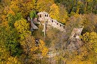 Zamek w Starym Książu - Zdjęcie lotnicze, fot. ZeroJeden, X 2019