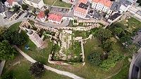 Zamek w Strzelcach Opolskich - Widok z lotu ptaka, fot. ZeroJeden, VII 2018