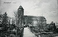 Świdwin - Zamek w Świdwinie na pocztówce z około 1905 roku