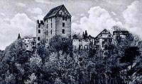 Zamek Świny - Ruiny zamku na widokówce z początków XX wieku