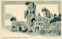 Zamek w Tarnowcu - Fantastyczna rekonstrukcja zamku na widokówce z 1904 roku
