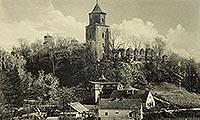 Zamek w Toszku - Zamek w Toszku na pocztówce z 1935 roku