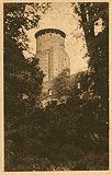 Zamek w Uniejowie - Wieża zamkowa na pocztówce z 1926 roku