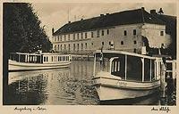 Zamek w Węgorzewie - Zamek na widokówce z okresu międzywojennego