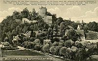 Zamek Wleń - Ruiny zamku na widokówce z 1940 roku