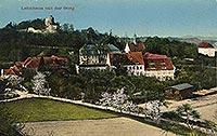 Zamek Wleń - Zamek Wleń na widokówce z 1915 roku