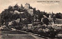 Zamek Wleń - Zamek Wleń na widokówce z początków XX wieku