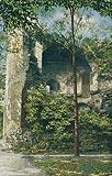 Zamek w Ząbkowicach Śląskich - Ruiny zamkowe na pocztówce z pierwszej połowy XX wieku