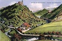 Zamek Grodno w Zagórzu Śląskim - Zamek w Zagórzu Śląskim na pocztówce z okresu międzywojennego