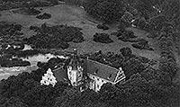 Zamek w Złocieńcu - Zamek w Złocieńcu na zdjęciu lotniczym z 1932 roku