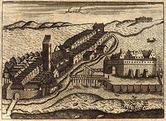 Ełk - miasto i zamek na rycinie z 1684 roku według Christopha Johanna Hartknocha